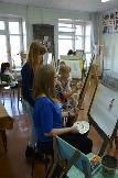 Акварельная живопись. А.Н.Ермолаева. Занятие в классе живописи, работа над натюрмортом.