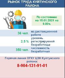 Рынок труда Куйтунского района на 15 января 2021 года