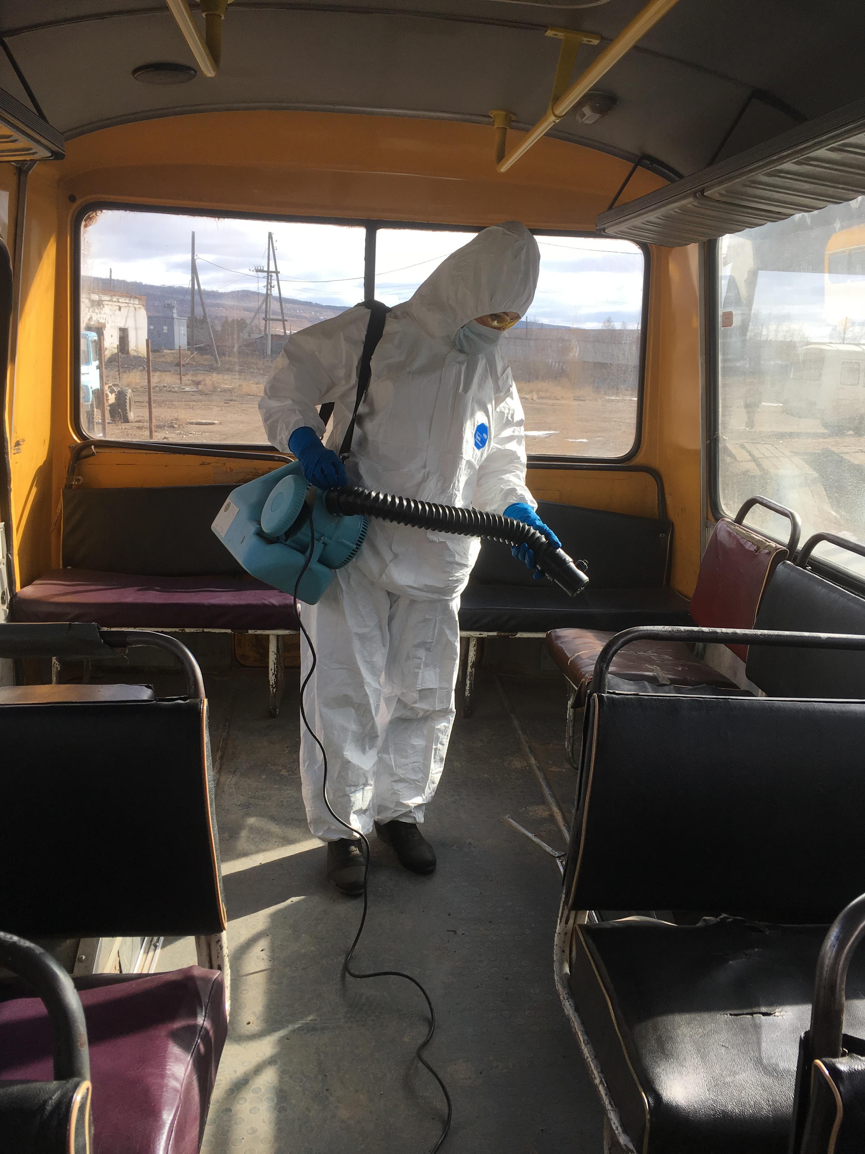 Дезинфекция автобусов ежедневно проходит в р.п. Качуг