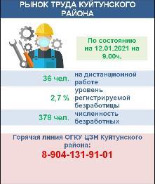Рынок труда Куйтунского района на 12 января  2021 года
