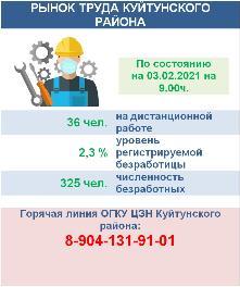 Рынок труда Куйтунского района на 03 февраля 2021 года