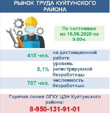 Рынок труда Куйтунского района на 18.06.2020