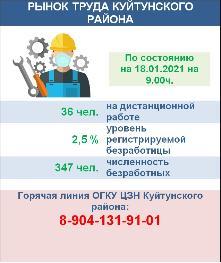 Рынок труда Куйтунского района на 18 января 2021 года
