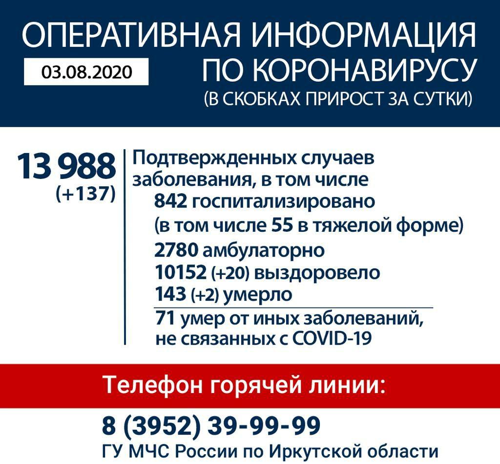 Оперативная информация по обстановке с коронавирусной инфекцией на территории Иркутской области по состоянию на 3 августа 2020 года