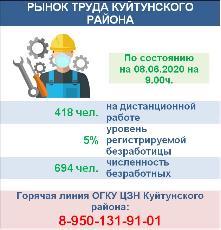 Рынок труда Куйтунского района на 08.06.2020