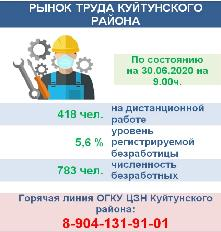 Рынок труда Куйтунского района на 30.06.2020