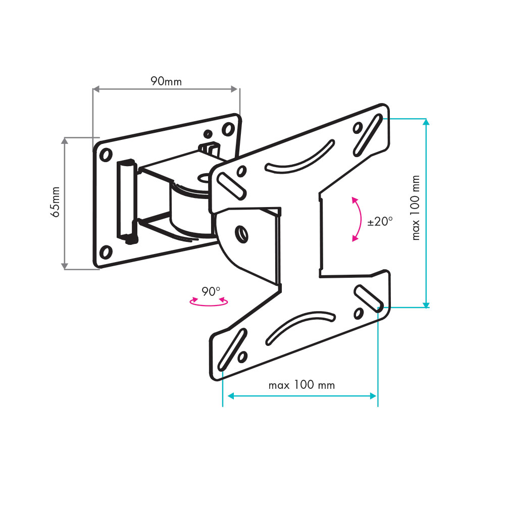 Настенный кронштейн для телевизоров VLK TRENTO-102 BLACK