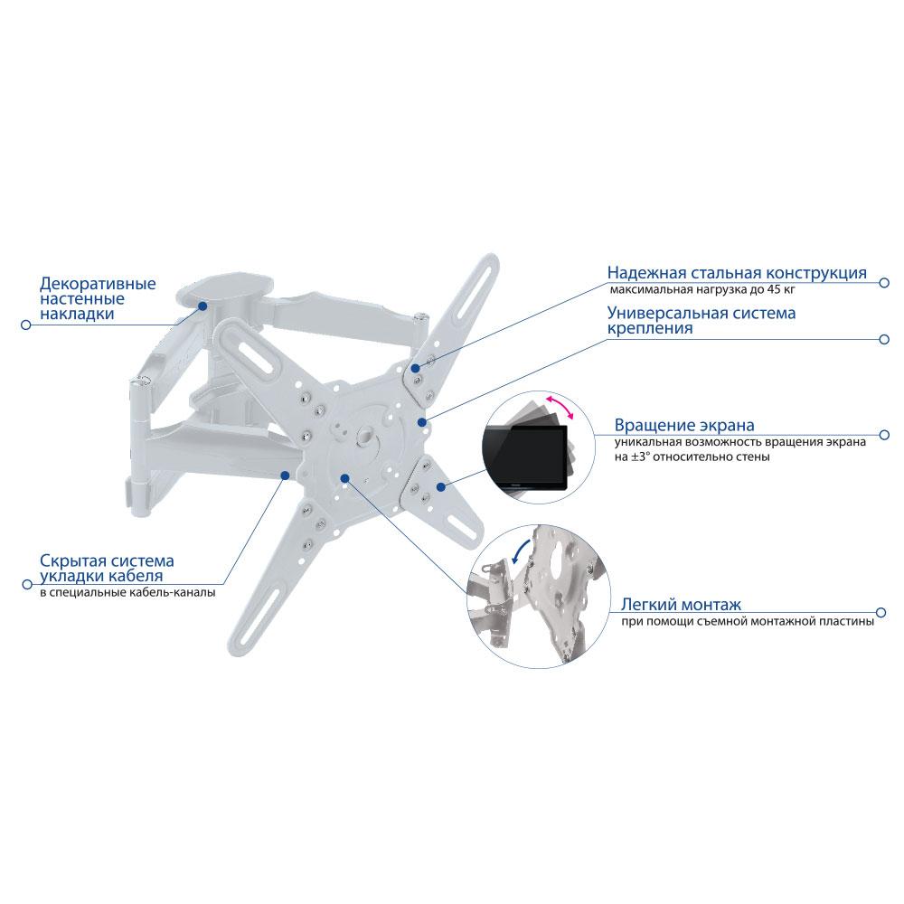 Кронштейн для LED/LCD Kromax ATLANTIS-45 white