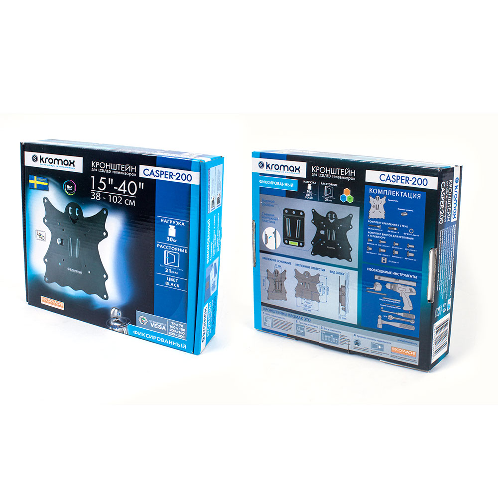 Кронштейн для LED/LCD Kromax CASPER-200 black
