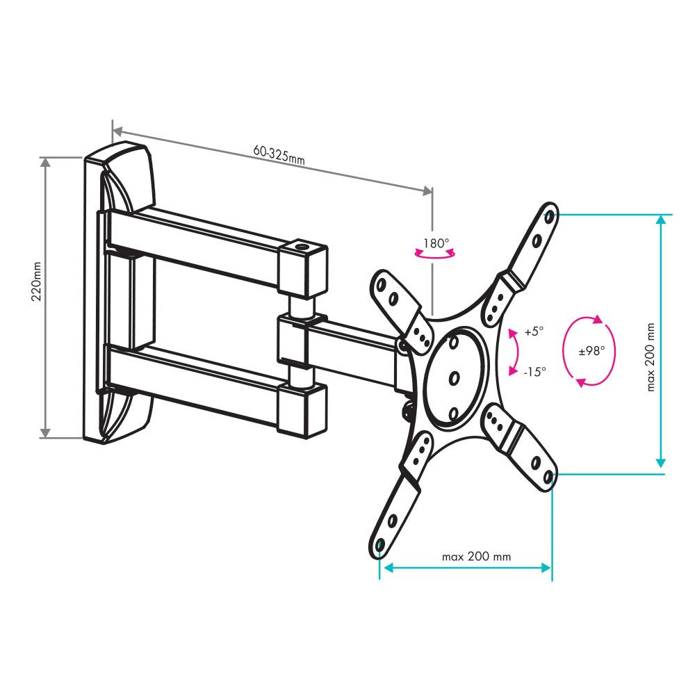 Кронштейн для LED/LCD VLK TRENTO-105 black
