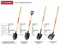 Лопата штыковая для земляных работ, деревянный черенок, Grinda 421824