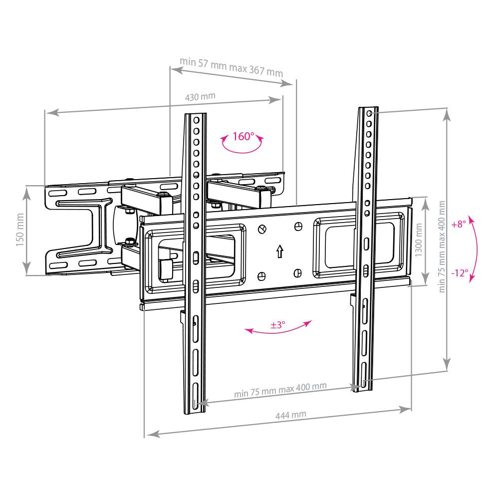 Настенный кронштейн для телевизоров Arm Media LCD-417 BLACK