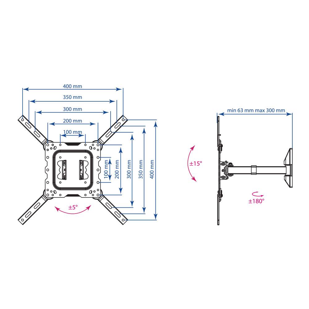 Кронштейн для LED/LCD телевизора Kromax DIX-17 black