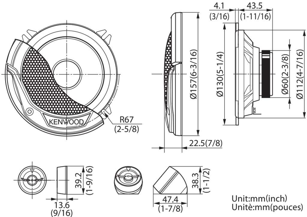 Автомобильная акустическая система Kenwood KFC-E130P