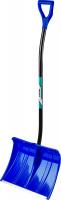 Лопата снеговая пластиковая с алюминиевой планкой, с алюминиевым черенком и V-ручкой, 500мм, синяя, Сибин 421847