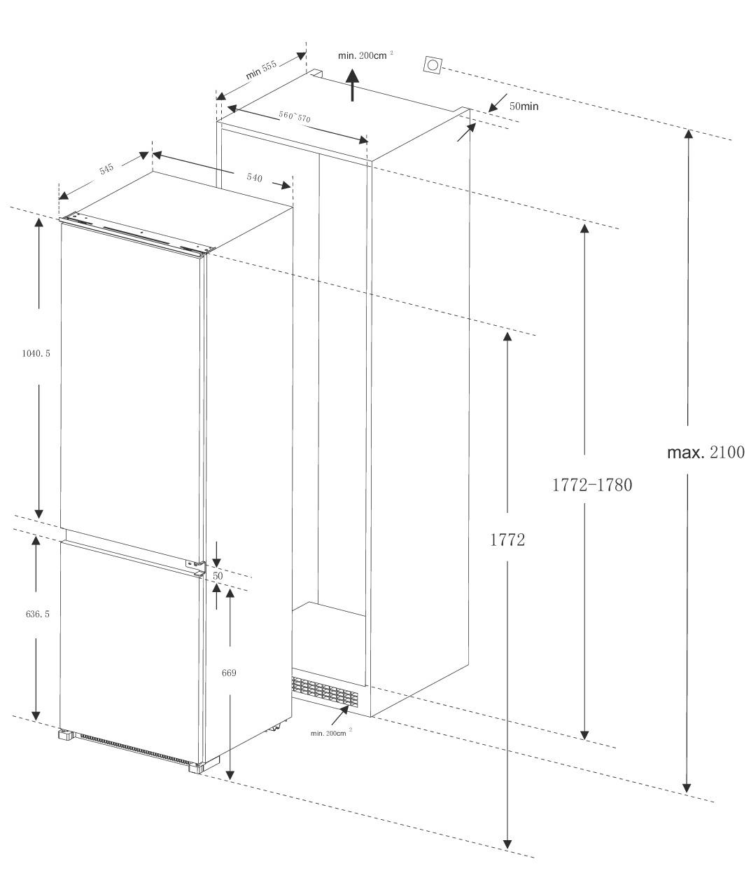 Встраиваемый холодильник Lex RBI 275.21 DF