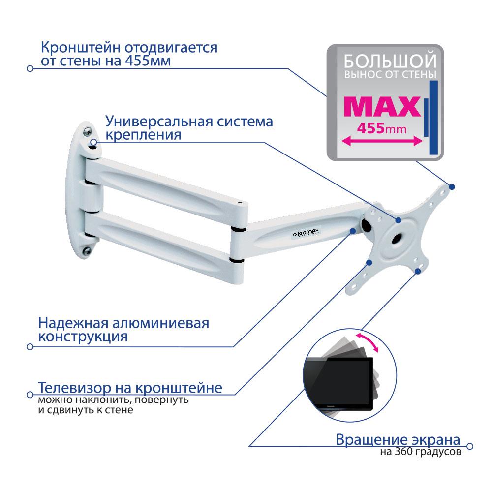 Кронштейн для LED/LCD телевизора Kromax TECHNO-11w white