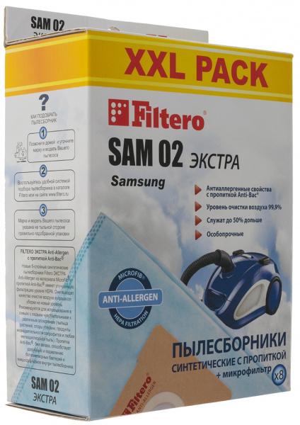 Мешки-пылесборники Filtero SAM 02 XXL Pack Экстра, 8 шт + микрофильтр, синтетические.